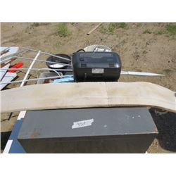 LOT OF ASSORTED ITEMS (FILING CABINET, PAPER SHREDDER, TIRE IRON, GREASE GUN, ASSORTED NAILS, ETC)