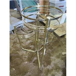 PLANT HOLDER (BRASS AND GLASS) *HOLDS 3 POTS*