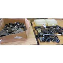 LOT OF MISC PLUMBING SUPPLIES (EYE WASH STATION AND SOLUTION, ELBOW JOINTS, COPPER FITTINGS, ETC)