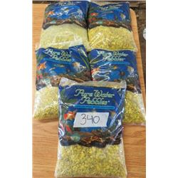 LOT OF 5 BAGS OF PURE WATER PEBBLES (DAFFODIL) *5LBS* (NOS)