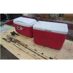 LOT OF CAMPING ITEMS (2 COOLERS, FISHING RODS, ETC…) *COLEMAN, THERMOS*