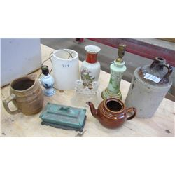 LOT OF ASSORTED ITEMS (WHISKEY JUG LAMP, VASES, ETC..)