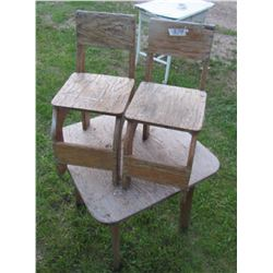 CHILDRENS TABLE AND 2 CHAIRS (NEEDS PAINT)