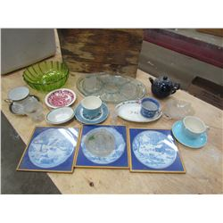 LOT OF ASSORTED GLASSWARE (PLATES, BOWLS, ETC…)