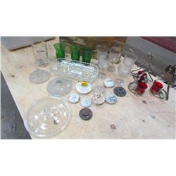LOT OF ASSORTED GOBLETS, CANDLE HOLDERS, LIDS, ETC…