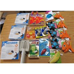 LOT OF 24 CAT ITEMS (SENSES WATER PET WATER SOFTENERS, KONG CONNECTS, MOUSE CAT TOY, FISH CAT TOY, E