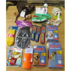LOT OF 13 DOG ITEMS (ALL WEATHER BOOTIES, BARK NOTES LEASH COVER, CHEW ROPE, HALTI HEAD COLLAR, HALT