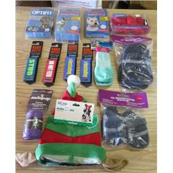 LOT OF 13 DOG ITEMS (ALL WEATHER BOOTIES, BARK NOTES LEASH COVER, HALTI HEAD COLLAR, HALTI HARNESS,