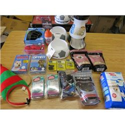 LOT OF 20 DOG ITEMS (DOG TREATS, FOOD STATION, FOOD DISHES, SM WASHABLE DIAPERS, LINKS FOR TRAINING