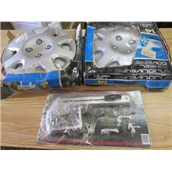 """LOT OF 4 HUBCAPS (14"""") AND PONTOON/BOAT TRANSDUCER BRACKET"""