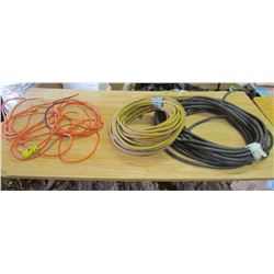 LOT OF 3 EXTENSION CORDS (YELLOW 12 GAUGE 50') *25' RED, RATED TO WORK -40 AND WATER RESISTANT)