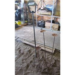 """LOT OF 3 WROUGHT IRON CANDLE HOLDERS (59"""" TALL, 3' TALL, 34"""" TALL, AND 25"""" TALL)"""