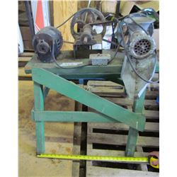 MEAT GRINDER (ELECTRIC) *MOUNTED ON WOOD STAND* (DELCO MOTOR) *1/4 HP*