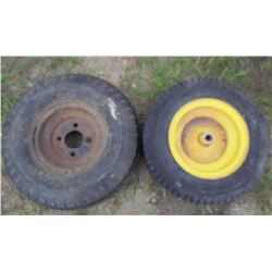 LOT OF 2 YARD TRACTOR TIRES (GOODYEAR AND TRANSMASTER) *WITH RIMS* (4 PLY RATING) *5.70-5.0-8* (16-6