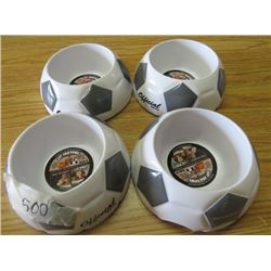 LOT OF 4 DOG DISHES (SOCCER BALL PATTERN) *SMALL* (NOS)