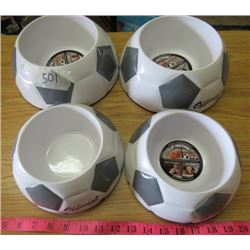 LOT OF 4 DOG DISHES (SOCCER BALL PATTERN) *2 X MEDIUM AND 2 X LARGE* (NOS)