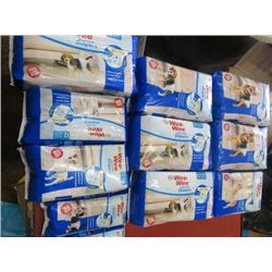 LOT OF 11 DOG CARE ITEMS (2 X DISPOSABLE DIAPERS XSMALL) *4 X DISPOSABLE DIAPERS MEDIUM* (1 X DOG WR