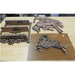 LOT OF COPPER DÉCOR (KNIGHT ON HORSE) *COWBOY ON HORSE* (SHELF)