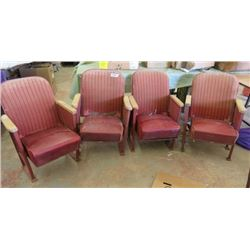LOT OF 4 THEATRE CHAIRS (VINTAGE)