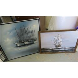 """LOT OF 2 PAINTINGS (38.5"""" L X 27"""" H) *37"""" L X 36.5"""" H* (FRAMED) *SIGNED*"""