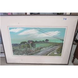 PAINTING (FARM AND COUNTRY ROAD) *FRAMED* (SIGNED)