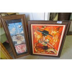 """LOT OF 2 PAINTINGS (LADY IN A DRESS 38.5"""" L X 37"""" H) *FLOWER PRINT 17.5"""" L X 41.5"""" H* (BOTH FRAMED)"""