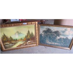 """LOT OF 2 PRINTS (MOUNTAIN VIEW 42"""" L X 30"""" H) *HOUSE AND FOREST 40"""" L X 27.5"""" H* (BOTH FRAMED) *MOUN"""