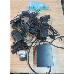 MIXED LOT OF ELECTRONIC ITEMS (HEAD CAMERA, DC POWER SOURCE, RANDOM CORDS)