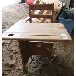 "DESK (ANTIQUE) *30""L X 23""W X 33""H* (DRAWER UNDER SEAT)"