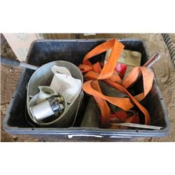 LOT OF MISC HOUSEHOLD ITEMS (SHELL HOUSEHOLD CLEANER SOLVENT, MOP PAIL, WINDSHIELD BRUSH, ETC)