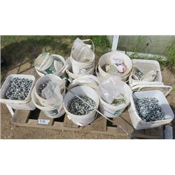 PALLET OF PAILS FULL OF SCREWS, BOLTS AND NUTS (VARIOUS SIZES)