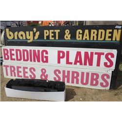 "LOT OF SIGNS (BRAYS) *LARGE 4'T X 8'L* (SMALL 8' X 16"") *WITH LETTERING*"