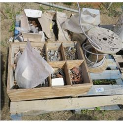 LOT OF MISC ROOFING ITEMS (ROOFING SCREWS, ROOFING NAILS, ELECTRICAL WIRING, NUTS AND BOLTS)