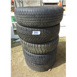 LOT OF 5 TIRES (2 X 195-65R-15, NO RIMS) *2 X 195-60R-15, WITH RIMS* (1 X 185-75-14, WITH RIM)