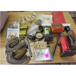 LOT OF MISC ITEMS (LICENSE PLATE, REPLACEMENT SPRINGS, HORSE SHOES, HYMN BOOK, ETC)