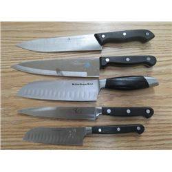 LOT OF 5 KNIVES (KITCHENAID, PC, CUISINART, LUCIANO)*STAINLESS STEEL*