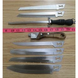 LOT OF BLADES (WITH KNIFE HANDLE) *SHARPENER*