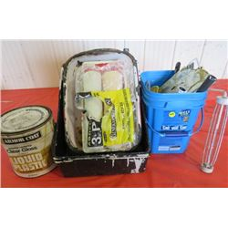 LOT OF PAINTING ITEMS (TOOLS, BRUSHES, PAINT TRAYS, PAINT ROLLERS, HANDLES, HALF CAN OF CLEAR GLOSS,