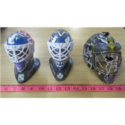 LOT OF 3 NHL COLLECTOR HELMETS (NY RANGERS, TORONTO MAPLE LEAFS, LA KINGS )