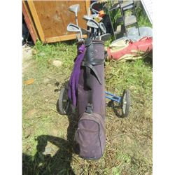 SET OF 15 GOLF CLUBS (WITH BAG AND CADDY) *MISC GOLF SUPPLIES IN BAG INCLUDED, CANVAS MAROON* (NORTH
