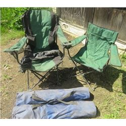 LOT OF 4 FOLDING CAMP CHAIRS (3 WITH BAGS)
