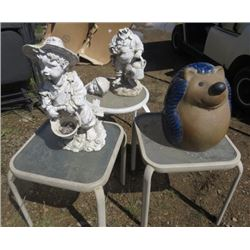 """LOT OF GARDEN ITEMS ( 3 X CEMENT STATUES, ONE BROKEN) *3 X SMALL TABLES; 2 X 16""""SQUARE TABLES AND 1"""