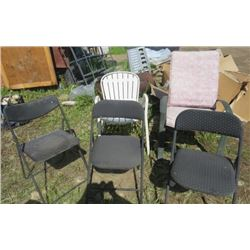 LOT OF 5 CHAIRS (3 FOLDING)