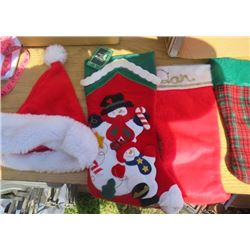 LOT OF CHRISTMAS DECOR ( 6 X STOCKINGS) *8 X STOCKING HOLDERS* (REINDEER AND SLED) *PARTS TO MAKE WO