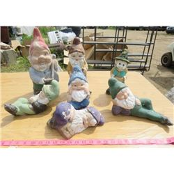 LOT OF 7 GARDEN GNOMES