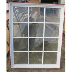 """LOT OF 2 WINDOWS (45""""HIGH X 32"""" LONG X 4.75 DEEP FRAME) *WHITE* (ONE CRACKED)"""