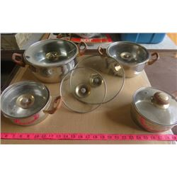 SET OF POTS (STAINLESS STEEL) *EXTRA LIDS*(DESIGNED IN GERMANY)