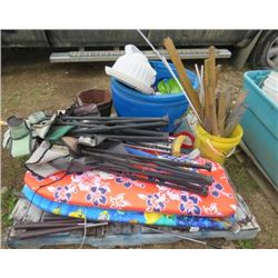 LOT OF MISC ITEMS (FOLDING CAMP CHAIRS, 2 X BOOGIE BOARDS, CRUTCHES, GOLF CLUBS, ETC)