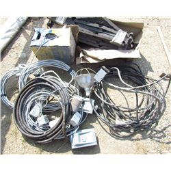 LOT OF MISC ELECTRICAL ITEMS (2 X FUSE BOXES, PLUG INS, 220 VOLT CORD, FOAM PIPE SPACERS, ETC