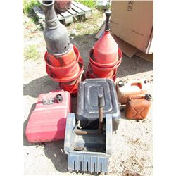 LOT OF MISC ITEMS (8 X AUTOMATED POULTRY WATERERS, 4 X GAS JUGS, MOP WRINGER, ETC)